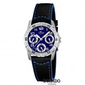 Reloj Lotus niño correa piel negra y azul 15947/B