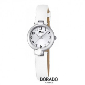 Reloj Lotus niña correa blanca corazon 18268/1