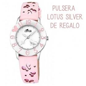 Reloj Lotus niña piel rosa corazones 18269/2