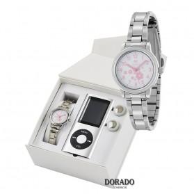 Reloj Marea niña acero flores rosas - B35306/5