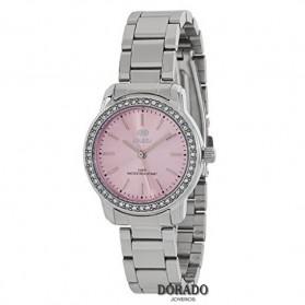 Reloj Marea mujer plateado fondo rosa - B41215/3