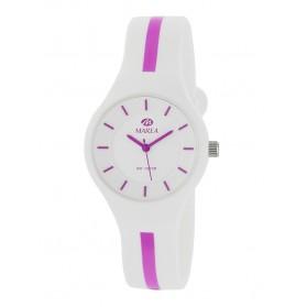 Reloj Marea silicona blanca raya fucsia B35325/11