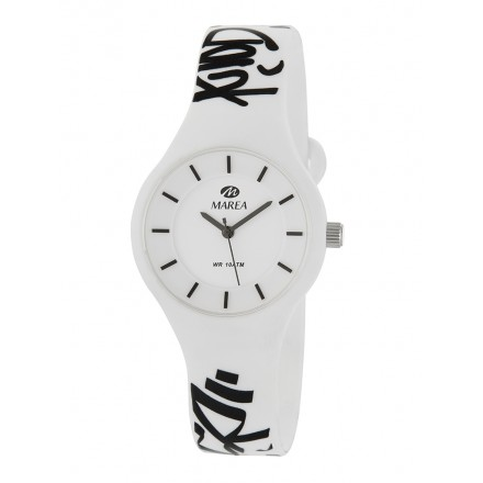 Reloj Marea silicona blanca graffitis negros B35325/20