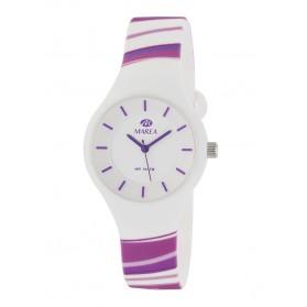 Reloj Marea silicona blanca rayas moradas