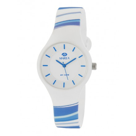 Reloj Marea silicona blanca rayas colores B35325/33