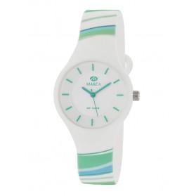 Reloj Marea silicona blanca rayas colores B35325/32