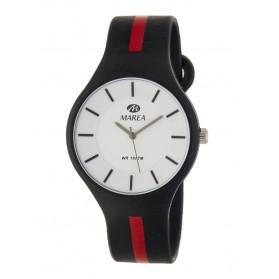 Reloj Marea silicona negra raya roja B35324/11