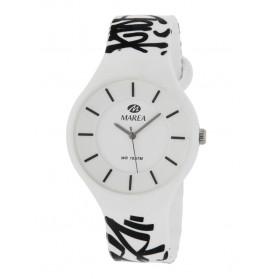 Reloj Marea silicona blanca graffitis negros B35324/21