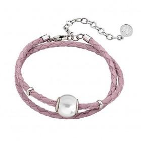 Pulsera Majórica cuero rosa perla y plata 15836.01.0.000.010.1