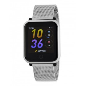 SMART WATCH MALLA UNISEX ESFERA CUADRADA PLATA