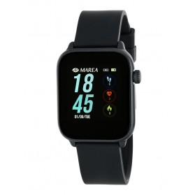 B59002-1 Smart Watch unisex Marea, esfera rectangular negra y correa silicona negra