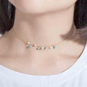 Gargantilla plata chapada perlas y turquesas