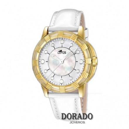 Reloj Lotus mujer caja dorada charol blanco 15859/1