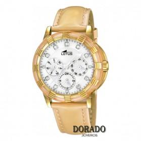 Reloj Lotus mujer caja dorada correa camel 15857/7