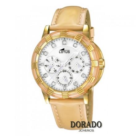 Reloj Lotus mujer caja dorada charol camel 15857/7