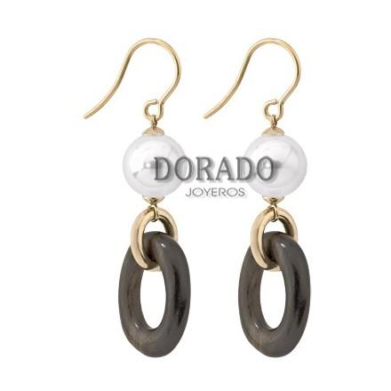 PENDIENTES DORADOS PERLAS MAJORICA MADERA EBANO - 14020.01.1.000.010.1