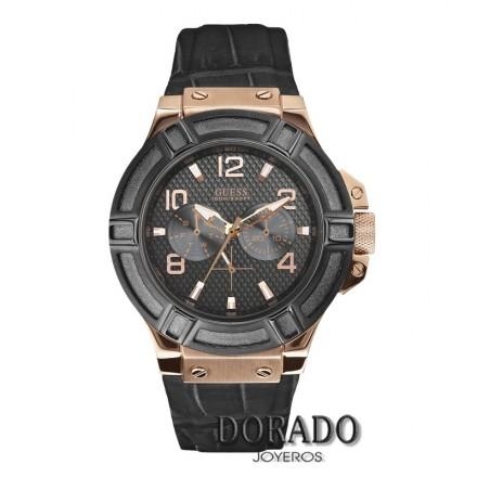 Reloj Guess hombre caja rosa correa negra W0040G5
