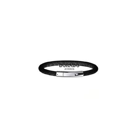 pulsera lotus style hombre cuero trenzado negro LS1119/2/1