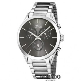 Reloj Lotus hombre acero fondo gris 18114/2