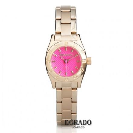 Reloj Superdry mujer dorado fondo fucsia-SYL158PGM