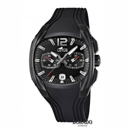 Reloj Lotus hombre caja oval negra caucho negro 15757/1