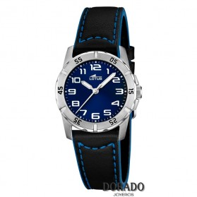 Reloj Lotus niño correa piel negra y azul 15945/B
