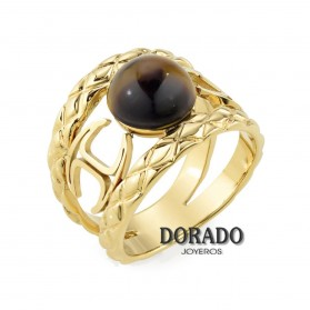 ANILLO JUST CAVALLI DORADO PIEDRA MARRON ESCAEM10