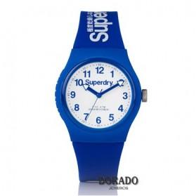 Reloj Superdry silicona azul fondo blanco SYG164U