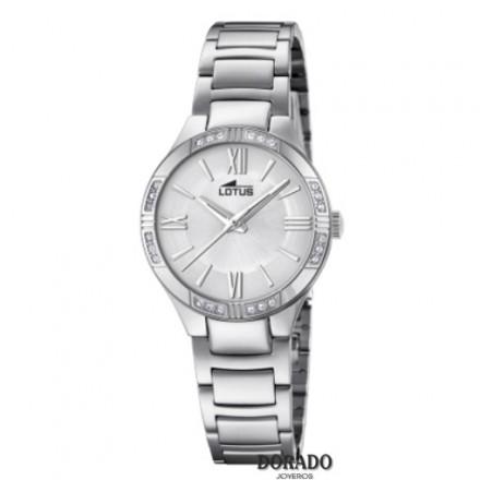 Reloj Lotus mujer acero fondo blanco nacarado 18387/1