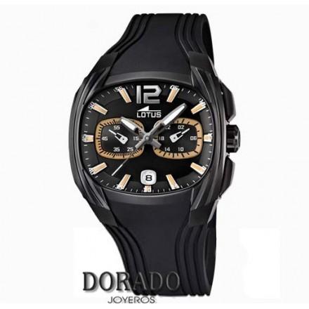 Reloj Lotus hombre caja oval negra caucho negro 15757/2