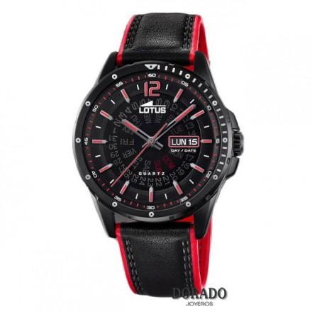 Reloj Lotus hombre piel negra y roja 18525/3
