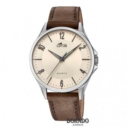 Reloj Lotus hombre fondo beige piel marron 18518/1