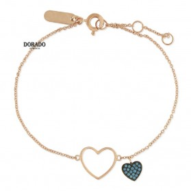 Pulsera liska plata rosa corazon circonitas azules - LAS2400BR