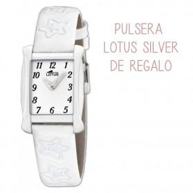 Reloj Lotus niña cuadrado correa blanca 18256/1