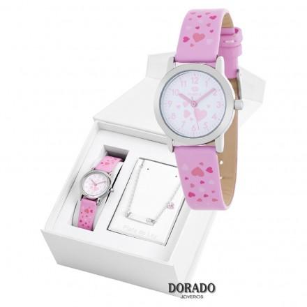 Reloj Marea niña piel rosa corazones - B35284/8