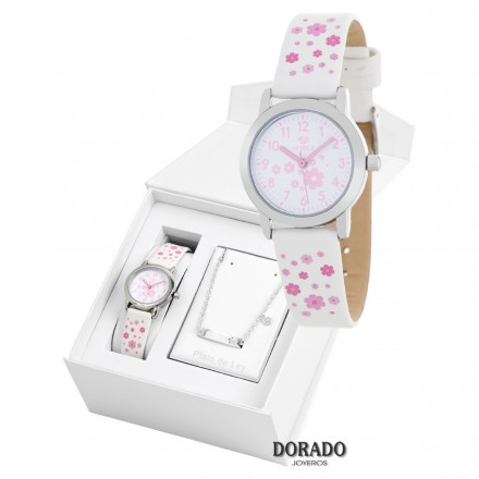 Reloj Marea niña piel flores rosas - B35284/10