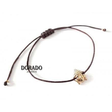 PULSERA PLATA BUDA DORADO CORDON - 244/12070095