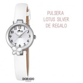 Reloj Lotus niña correa blanca mariposa 18263/1