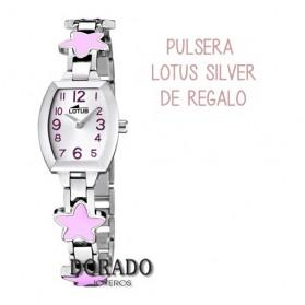 Reloj Lotus niña acero estrellas rosas 15833/2