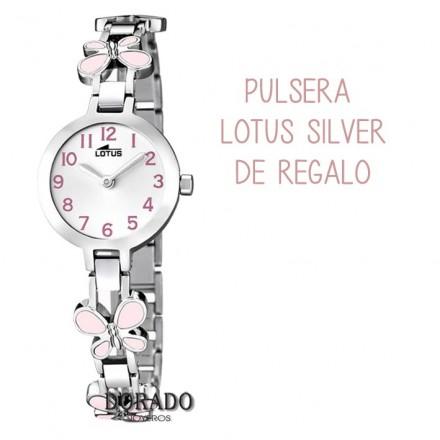 Reloj Lotus niña acero mariposas rosas 15829/2