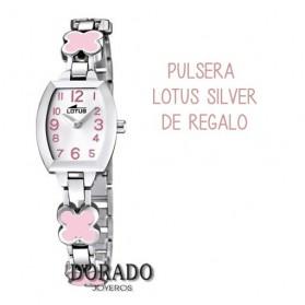 Reloj Lotus comunión niña acero flores rosas 15771/2