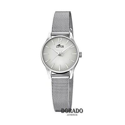 Reloj Lotus malla acero mujer fondo gris degradado 18571/5