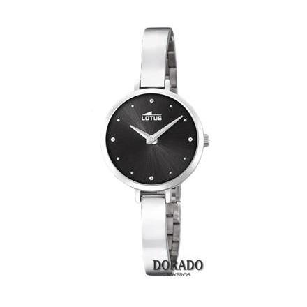 Reloj Lotus acero correa estrecha fondo negro 18545/2