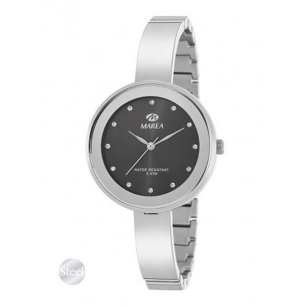 Reloj Marea mujer plateado fondo gris oscuro correa semirrigida estrecha - B54143/3