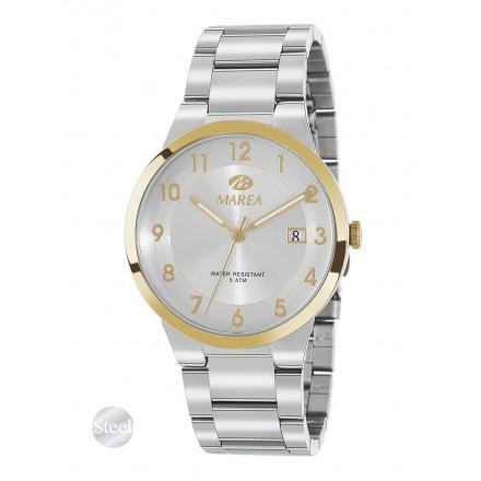 Reloj Marea hombre acero bisel dorado fondo blanco - B54144/3