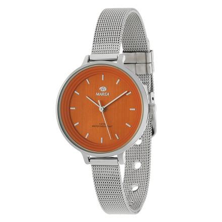 Reloj Marea mujer malla plateada fondo naranja - B41198/10
