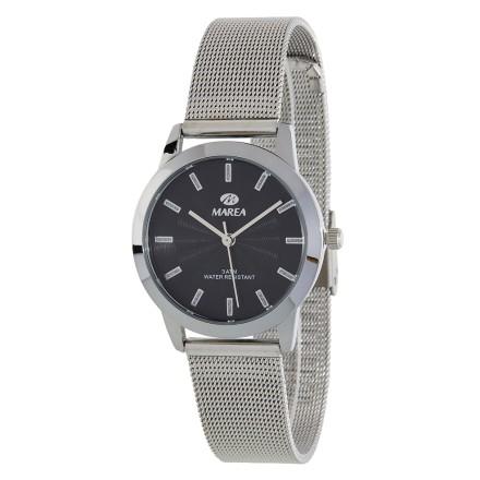 Reloj Marea mujer malla plateada fondo negro - B41235/1
