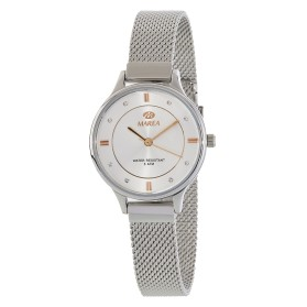 Reloj Marea mujer plateado fondo detalles IP oro rosa correa malla - B54138/2