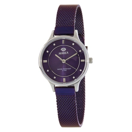 Reloj Marea caja plateada correa malla morada - B54138/4