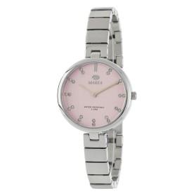 Reloj Marea plateado correa estrecha fondo rosa - B54140/1